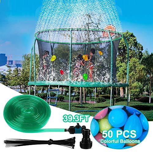 West Bay Trampoline Sprinkler, Outdoor Water Park Sprinkler for Kids Summer Fun, Trampoline Spray Hose Attached on Trampoline Safety Net Enclosure(39.3FT)