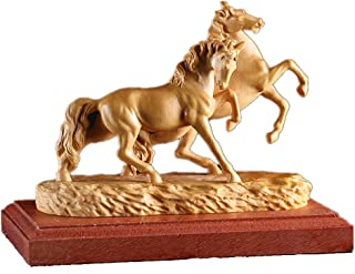 金品木彫 風水 木製彫刻 「馬到成功」 馬の形茶具置物 ツゲの木彫り