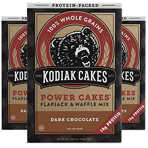Kodiak Cakes Protein Pancake Power Cakes, Flapjack & Waffle Baking Mix, Dark Chocolate, 18 Ounce, Pack of 3