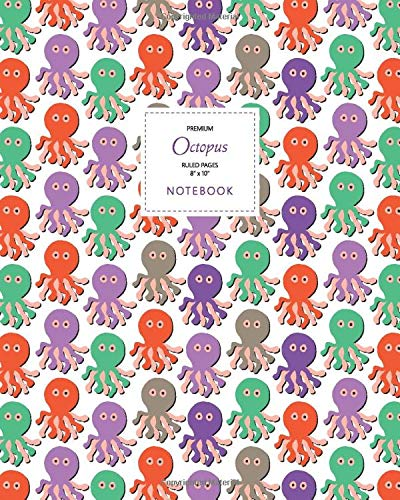 Octopus Notebook - Ruled Pages - 8x10 - Premium Taccuino (Autumn)