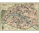 Vintage Paris Map Monuments Poster by Cavallini & Co. 20' x 28'