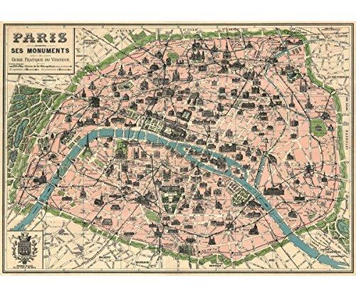 """Vintage París Mapa monumentos Póster por Cavallini & Co. 20""""x 28"""""""