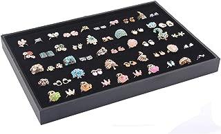 Homanda Black 100 Slots Velvet Earring and Ring Jewelry Display Organizer Holder Tray Showcase