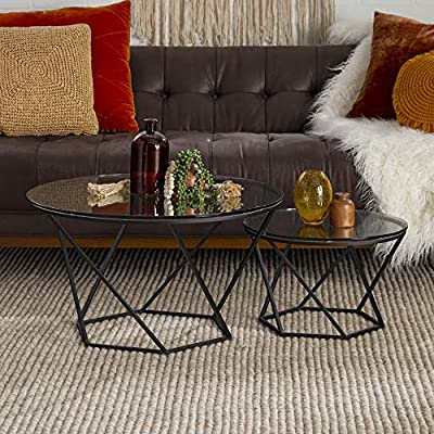 Walker Edison Furniture Modern Round Nesting Coffee Accent Table Living Room