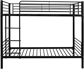 FCH Twin Over Twin Bunk Bed Easy Assembly Upgraded Metal Frame Bunk with Ladder Kids Adult Children Bedroom 78