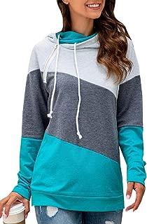 Womens Long Sleeve Double Hooded Sweatshirt Side Zipper Stripe Pullover Hoodies