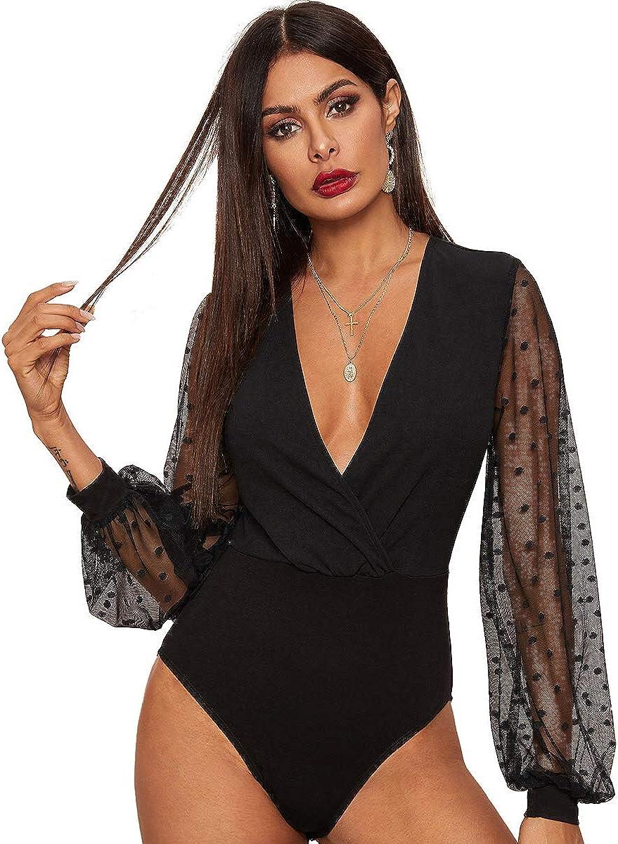 SheIn Women's Deep V Neck Wrap Polka Dots Mesh Lantern Long Sleeve Bodycon Bodysuit