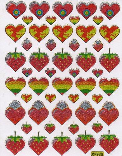 Coeur d'amour colorè Decal autocollant de décalque 1 Metallic Glitter Dimensions de la feuille: 13,5 cm x 10 cm