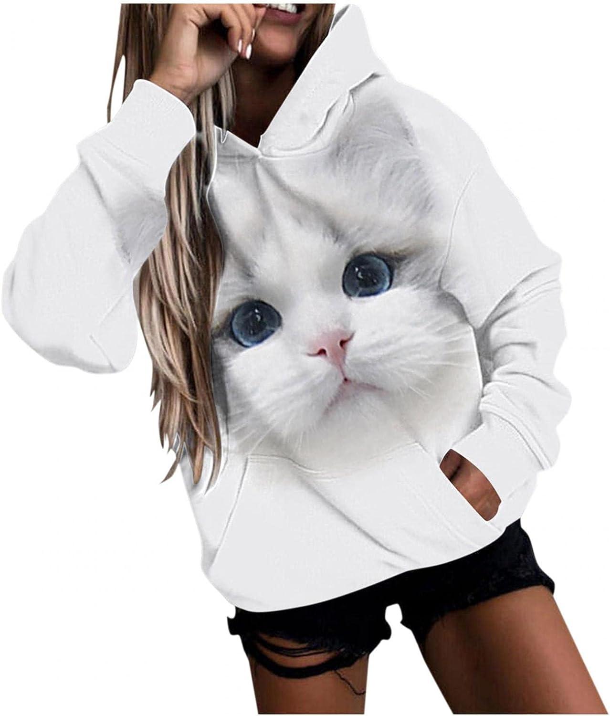 Women Animal Striped Hoodie Tops,Long Sleeve Hooded Sweatshirt Pullover Top,Casual Printed Hoodies for Women