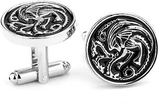 Steampunk - GAME OF THRONES Men's Cufflinks Cuff Links Mother of Dragons Daenerys Stark Dire Wolf - Winter Is Coming - Goth - Antique Silver - Kelts Midevil Europe - GlazedBlackCherry