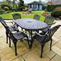 Lazy Susan JUNE 150 cm x 95 cm 6 Seater Oval Garden Table, Maintenance Free, Weatherproof, Lightweight, Sand-cast Aluminium, Antique Bronze Finish, Matching ROSE Chairs, Stone Cushions by Lazy Susan Furniture