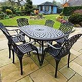 Lazy Susan - Table Ovale 150 x 95 cm June et 6 chaises de Jardin - Salon de Jardin en Aluminium moulé, Coloris Bronze Ancien (chaises Rose, Coussins Verts)