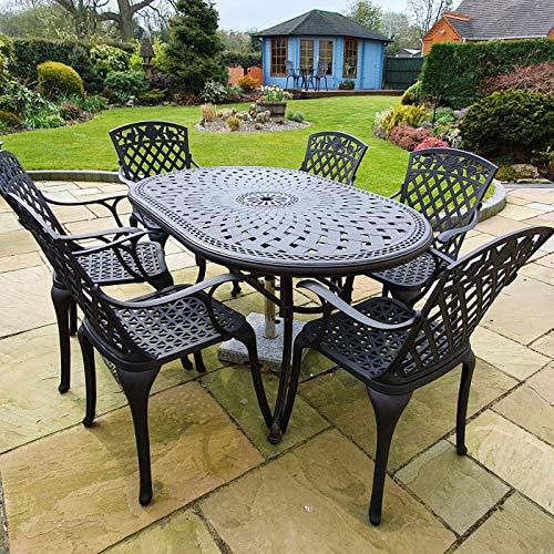 Lazy Susan - June 150 x 95 cm Ovaler Gartentisch mit 6 Stühlen - Gartenmöbel Set aus Metall, Antik Bronze (Rose Stühle)