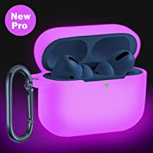 Wepro Compatible with AirPods Pro Case Cover (Front LED Visible) Designed for AirPod Pro Case 2019, Shockproof Silicone Protective Skin with Keychain for Airpods 3, Girls, Boys (Nightglow Pink)