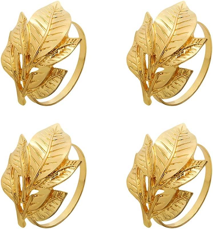 Hemoton 4pcs Napkin Rings Napkin Holders Leaf Napkin Rings Serviette Buckles For Kitchen Wedding Banquet Dinner Party Golden