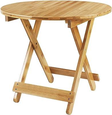Table Salle à Manger Pliable Petit Table d'appoint Ronde Bambou Bureau d'ordinateur Portable Plateau de Snack Table de Cuisine Rétro pour Bar Café Restaurant Camping Table de Travail Maison 60 * 60cm