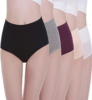 comprar comparacion TUUHAW Braguita de Talle Alto Algodón para Mujer Pack de 5 Culotte Bragas de Cintura Alta Cómodo Talla