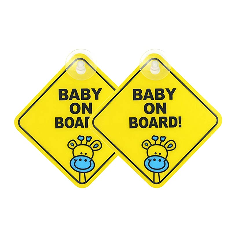 Baby On Board Sticker for Cars for Boys Girls,Baby On Board Suction Sign Decal 2pcs(A)