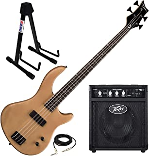 $299 » Dean Edge 09 Satin Natural Bass Guitar, Peavey Max 158 Practice Amp, and Stand
