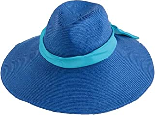 Crazy4Bling Big Blue Floppy Hat with Blue Ribbon, One Size