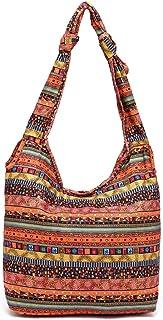 Shoulder Bag - Women's Bohemia Print Casual Cotton Fabric Sling Bag Ladies Vintage Crossbody Bag For Daily Travel Shopping, 30 * 30 * 11CM Boutique (Color : Orange)