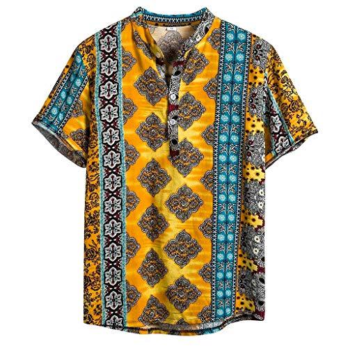 TAMALLU Herren Hemden Ethnisch Kurzarm Männer Tee Lässige Bluse Aus Baumwoll Leinen(Gelb,L(L))