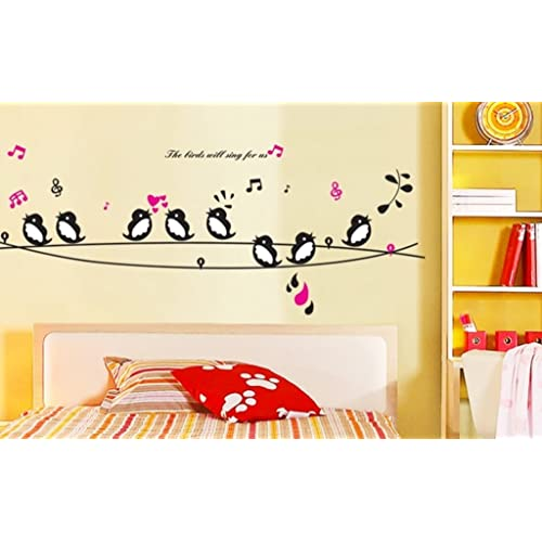 Decals Design 'Cute Singing Birds' Wall Sticker (PVC Vinyl, 50 cm x 70 cm, Multicolour)