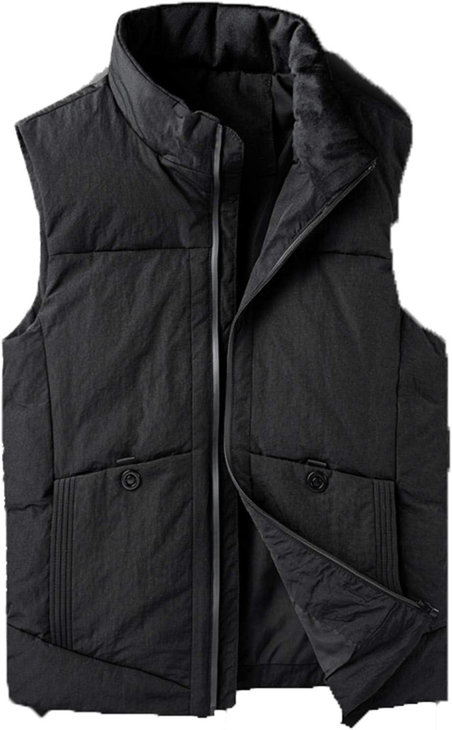Snhpk Men's Down Vest Outerwear Gilets Coat Softshell Jacket, Hooded Winter Thicken Warm Windproof Overcoat Waistcoat,Black2,5XL