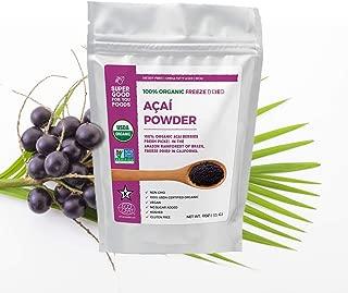 Super Good For You Foods Organic Freeze Dried Acai Berry Powder, Gluten-Free, Non-GMO + Vegan, 4 Ounce Bag