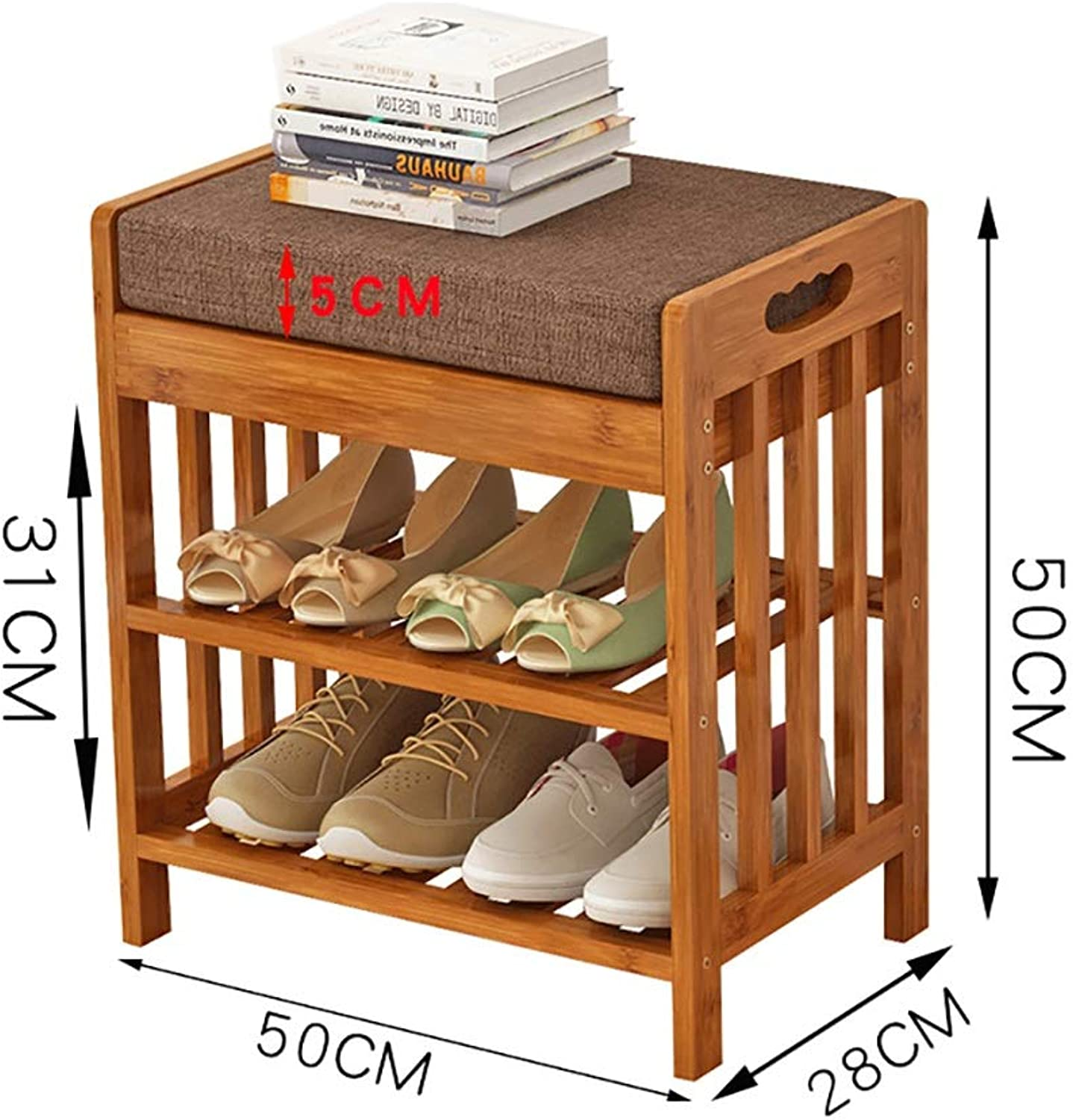 Entrance Door Change shoes Bench 2 Layer shoes Rack shoes Stool Storage Stool Frame Sofa Stool shoes Cabinet Test shoes Bench Wearing a shoes Bench Bamboo (Size   50  28  50cm)