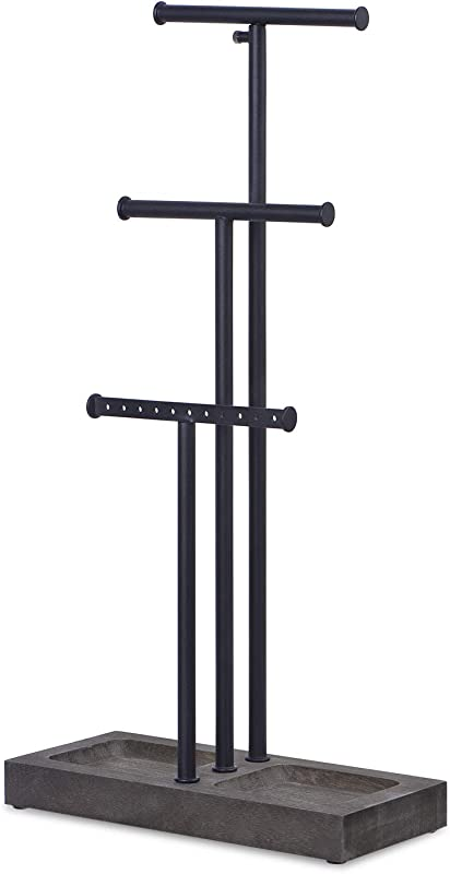 Love KANKEI Jewelry Organizer Stand Metal Wood Basic And Large Storage Necklaces Bracelets Earrings Holder Organizer Black And Weathered Grey