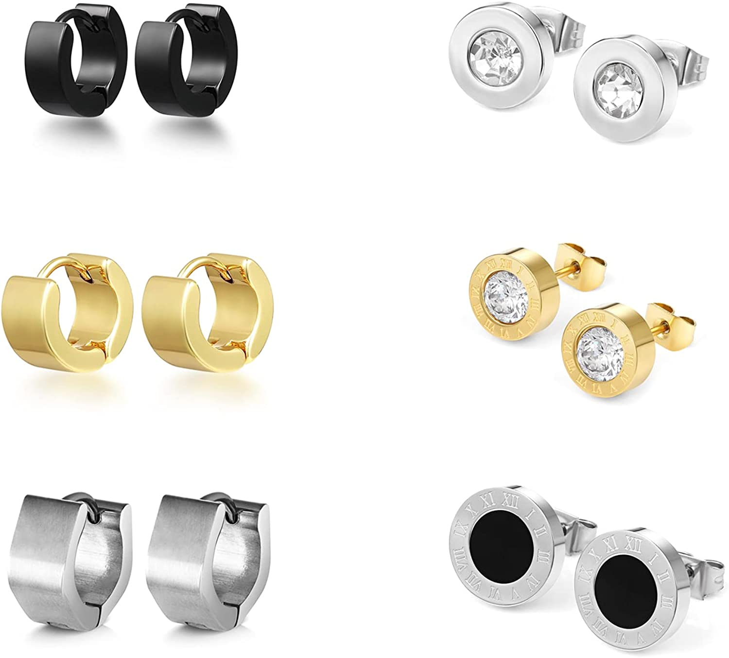 LaSua - 6 Pairs Stainless Steel Earrings - Set of Studs and Hoop, Black White Cubic Zirconia Studs- Solid Polished Square Classic Earrings for Men and Women