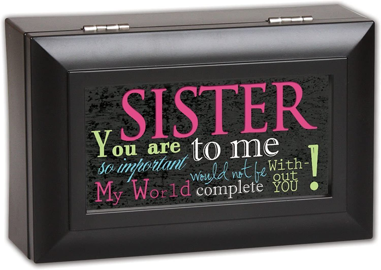 Sister So Important World Not Complete Matte Black Jewelry Music Box Plays Amazing Grace