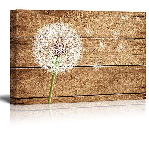 wall26 - Dandelion on Vintage Wood Background - Canvas Art Wall Art - 24'x36'
