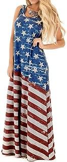 VIASA Sexy Women Flag Print Round Neck Sleeveless Long Maxi Casual Beach Dress