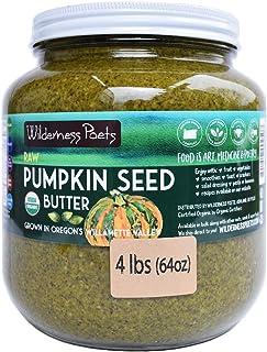 Wilderness Poets Organic Raw Pumpkin Seed Butter - Bulk Seed Butter - (Half Gallon Glass Jar) Approx. 4 Pounds---Seasonal ...