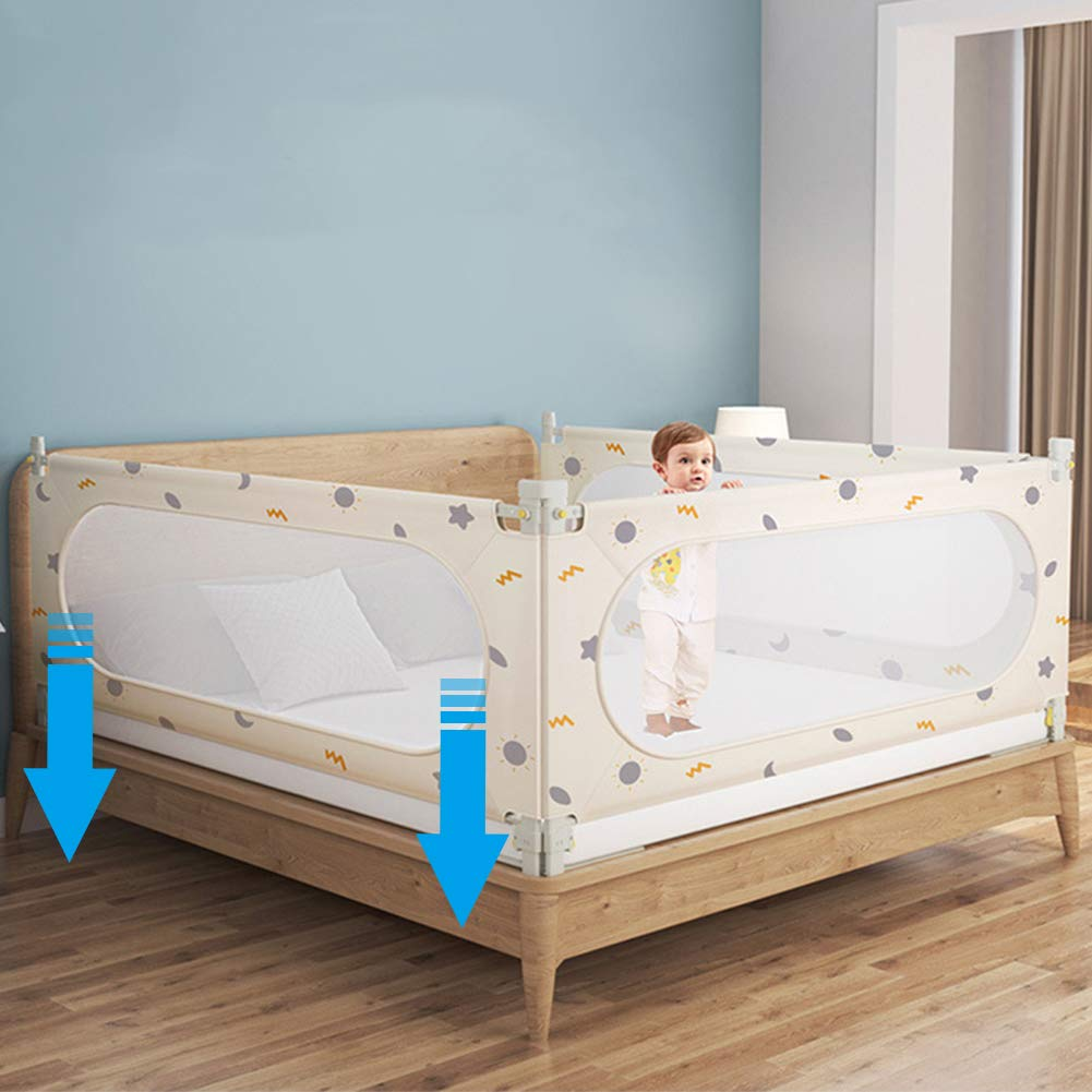 HePesTer Bed Rails for Toddlers Vertical Lifting with Double Lock Grey Bear, 60 Inch 150 cm Baby Bed Rail Guard Protects Baby Free-Tool Assemble Fits Most of Beds Queen//King Size Bed