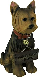 Yorkie Dog with Double Sided Sign Indoor/Outdoor Statue