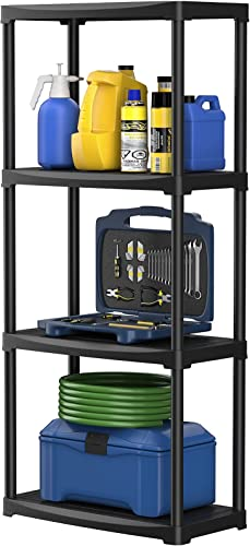 """discount Giantex 4 Tier Garage Storage Shelf Rack, 24"""" x 12"""" x 52.5"""" Heavy Duty Freestanding Display Shelving, Easy discount to lowest Assemble, Made in Italy, Lightweight Plastic Tool Utility Shelves, Black outlet online sale"""