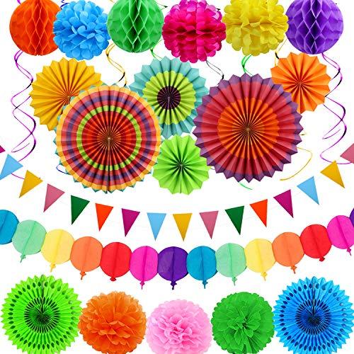 aovowog Decoración Fiesta Cumpleaños Carnaval Mexicana Adornos para Adultos Niña Niño,Multicolor Pompom Abanico de Papel Flor Guirnalda Banderines Bola de Nido(31 Pack)
