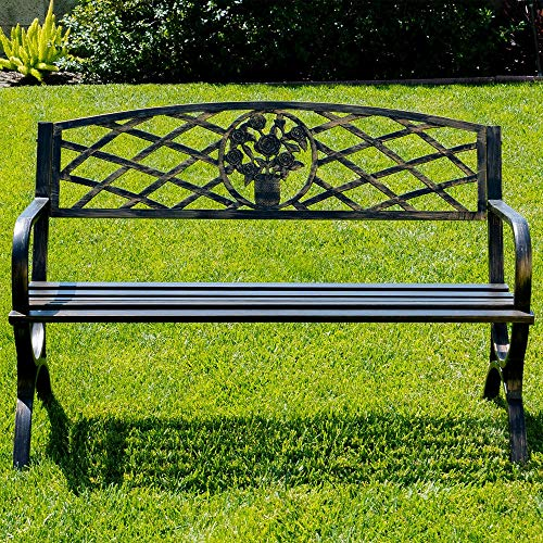 Hypeshops 50' Outdoor Bench Patio Garden Furniture Backyard Park Porch (Bronze)