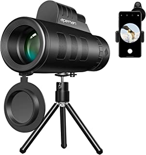 APEMAN Monocular Telescopes, 10X50 High Power HD Monocular with BAK4 Prism Rotating Eye Cups Fully Multi-coated Lens Waterproof for Bird Watching Wildlife Hunting Camping with Tripod and Phone Adapter