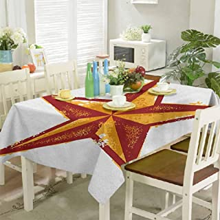 homecoco Wrinkle Free Tablecloths Grunge Western Star Retro Style Worn Aged Retro Country Design 54