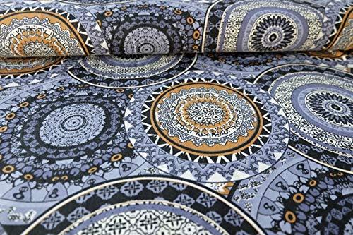 Qualitativ hochwertiger Avalana Jersey Stoff mit Ornamenten auf Blau als Meterware zum Nähen von Erwachsenen und Kinder Kleidung, 50 cm