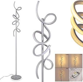 Lampadaire LED Lavaca en métal argenté, luminaire design à intensité variable par l'interrupteur sur le câble, parfait dan...