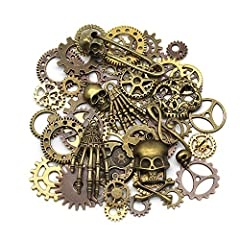 Mila-Amaz 80 Pcs Assorted Antique Steampunk Gears Metal Skeleton Pendant Charms Cogs for Jewelry Making Accessory - Bronze, Silver #1