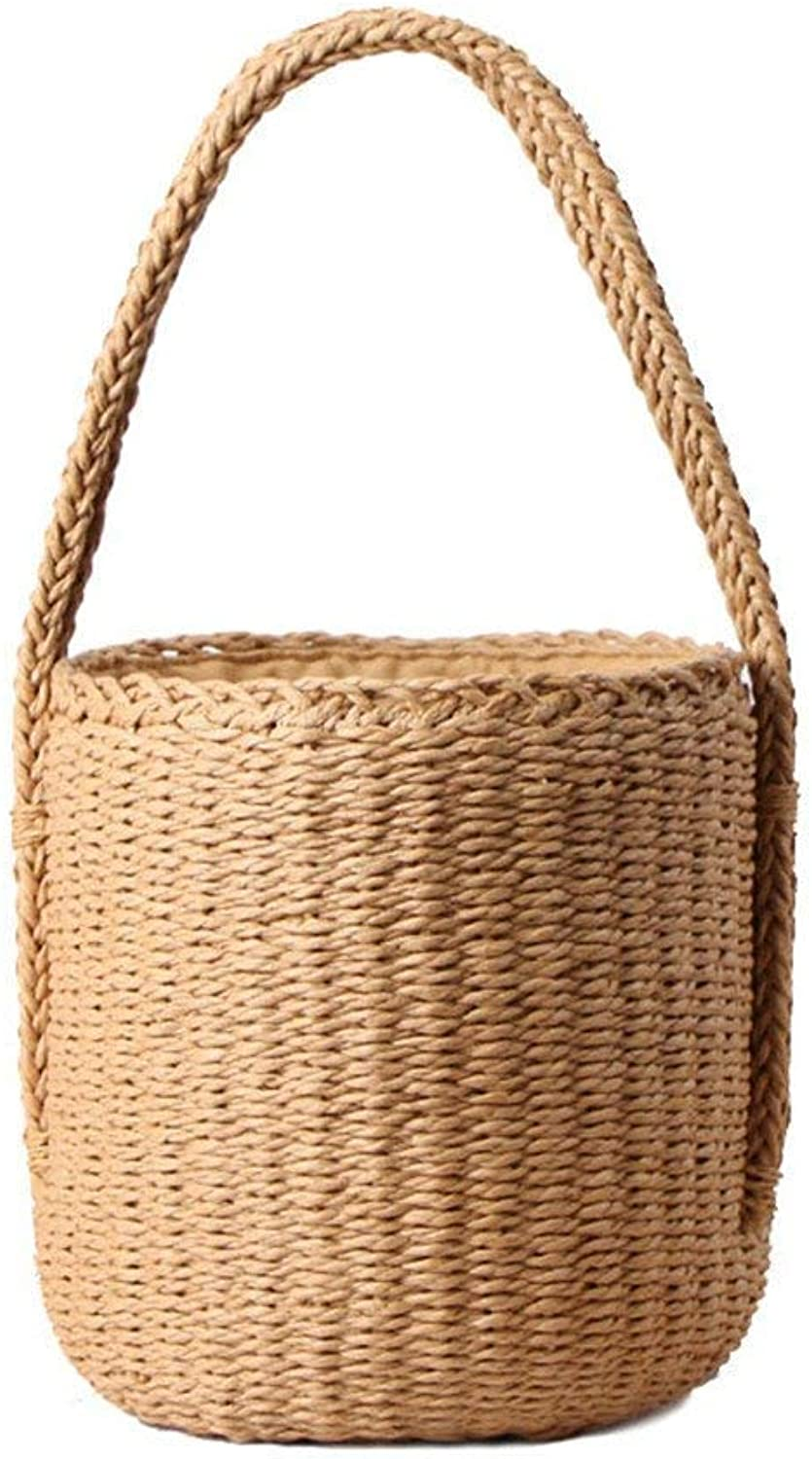 Evening Bag HandWoven Summer Pure Straw Bag Beach Handmade Woven Handbags Causal Shoulder Bags for Women Boho Shopping Tote (color   , Size   ) Party Handbag (color   , Size   )