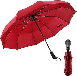 1Pcs Compact Travel Umbrella Windproof Automatic 10 Ribs Large Canopy Foldable Rain Umbrella Red