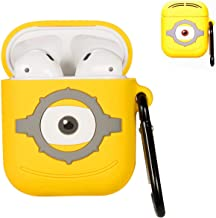 Punswan One Eye Yellow Airpod Case for Airpods 1&2,Cute 3D Funny Cartoon Character Soft Silicone Catalyst Cover,Kawaii Fun Cool Keychain Design Skin,Fashion Cases for Girls Kids Boys Air pods