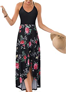 6d5838f58e KILIG Women s V Neck Sleeveless Summer Asymmetrical Patchwork Floral Maxi  Dresses
